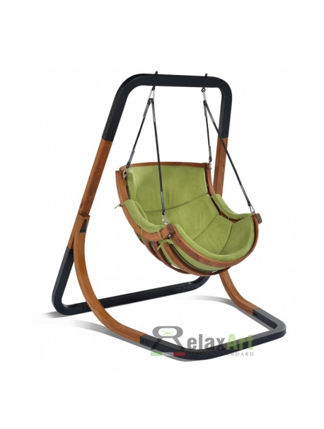 Greenland trapzoid wooden swing chair